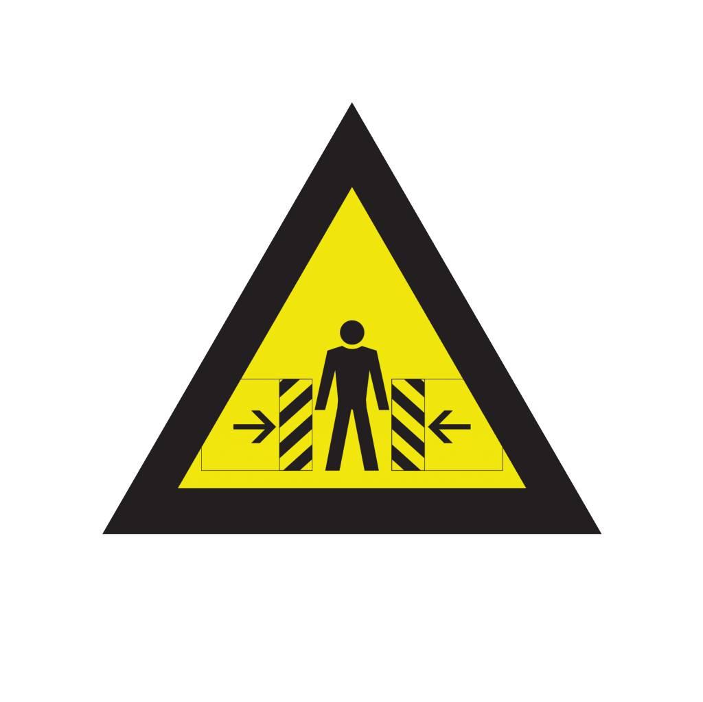 Waarschuwing voor bekneld raken sticker