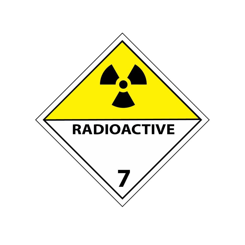 Radioactief 7 geel Sticker