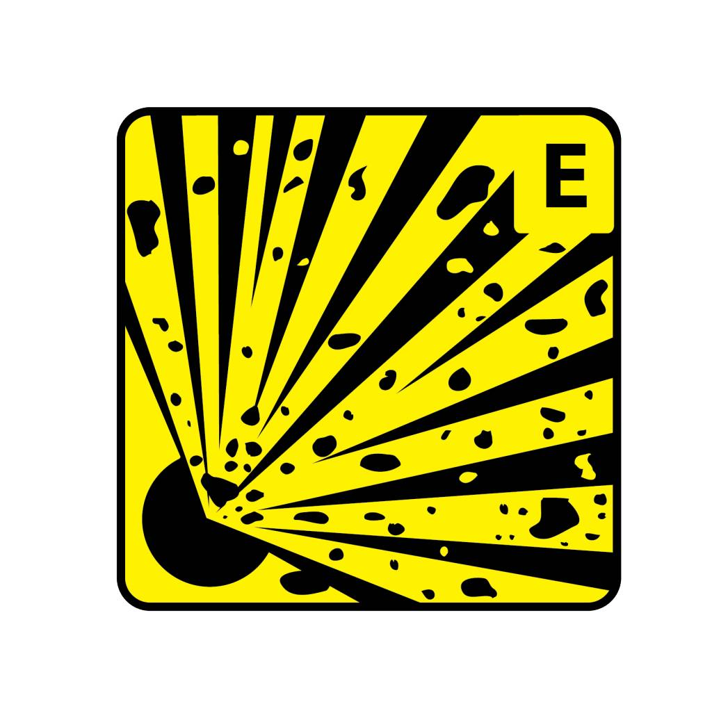 Explosionsgefährlichen Stoffen E Aufkleber