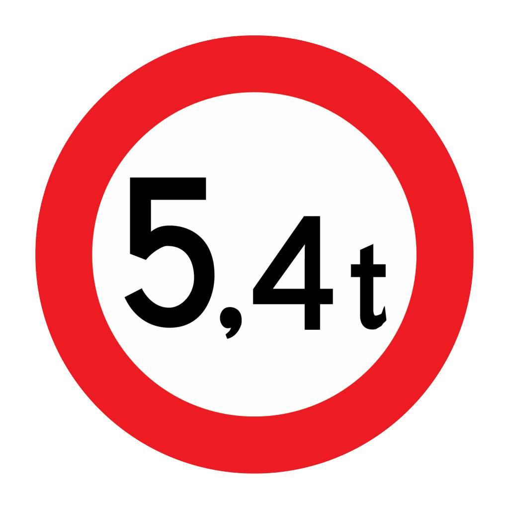 Closed to vehicles, 5.4 t