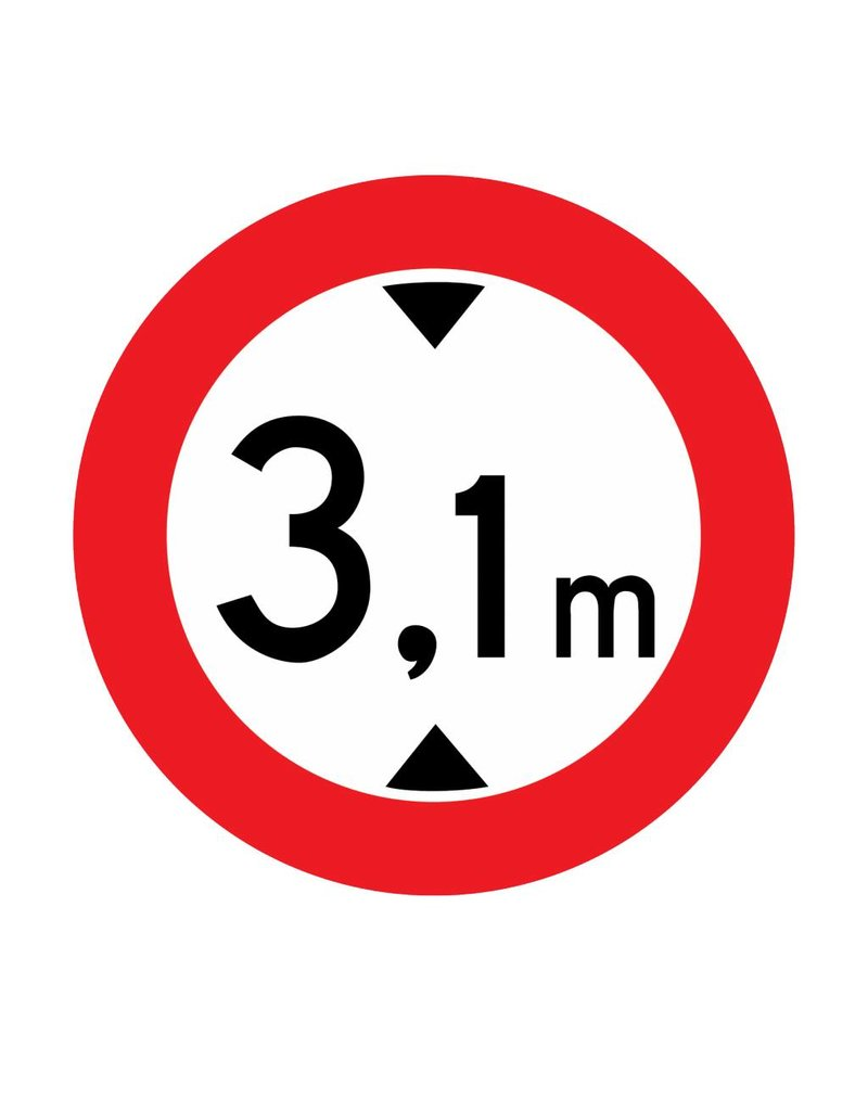 Closed to vehicles, 3.1 meters