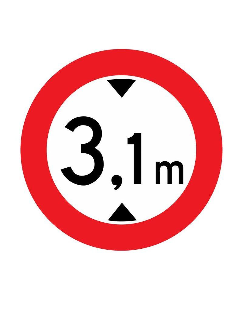 Fermé aux véhicules, de 3.1 mètres