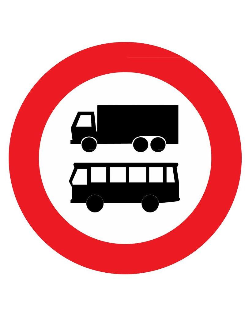 Fermé pour les autobus et les camions