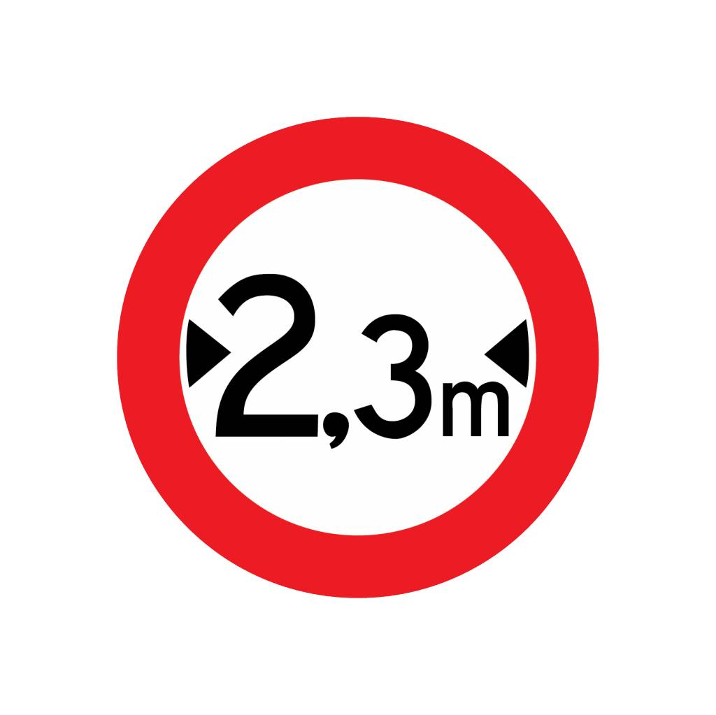 Closed to vehicles, 2.3 meters