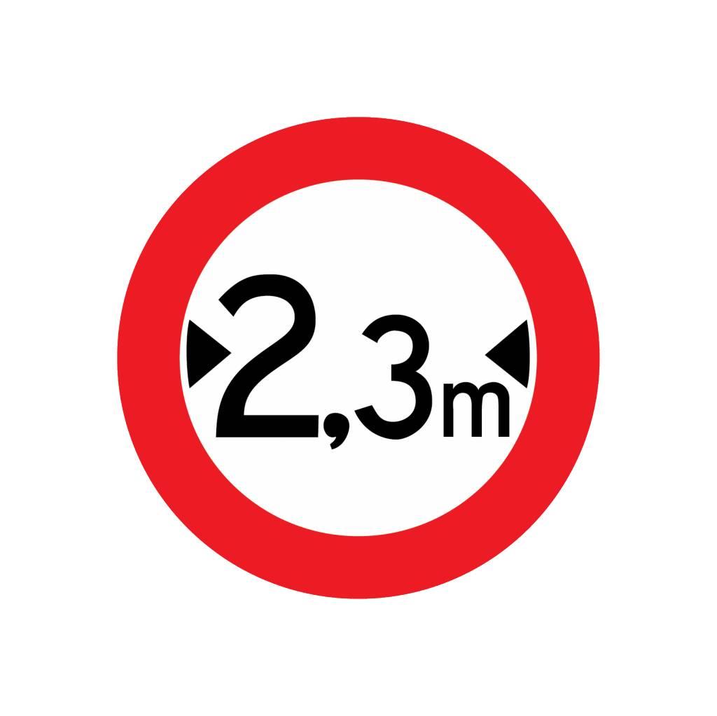 Gesloten voor voertuigen, 2.3 meter