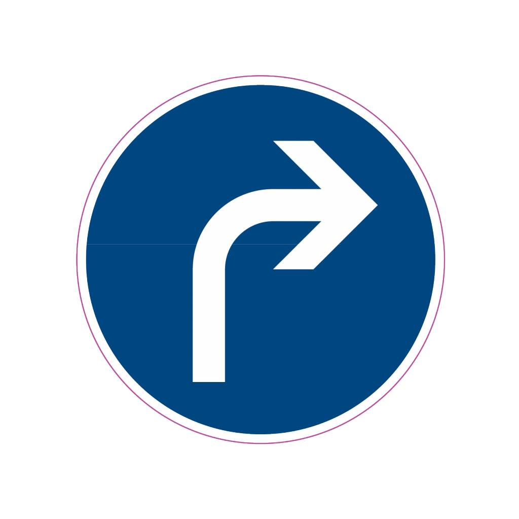 Vorgeschriebene Fahrtrichtung - rechts