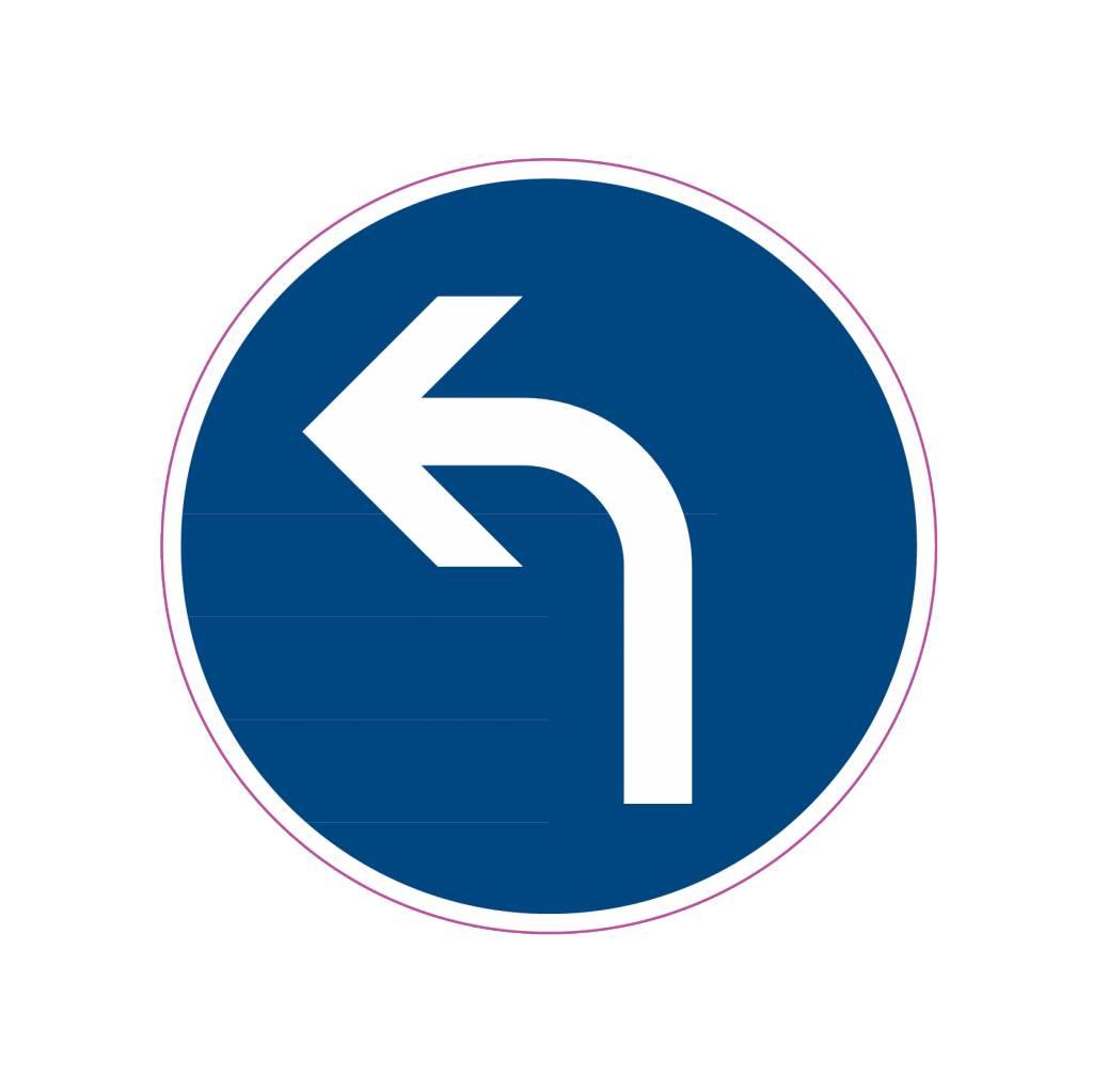 Vorgeschriebene Fahrtrichtung - links