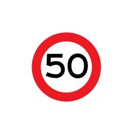 Limite de vitesse 50 km autocollant