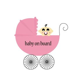 Baby on board vierkant meisje