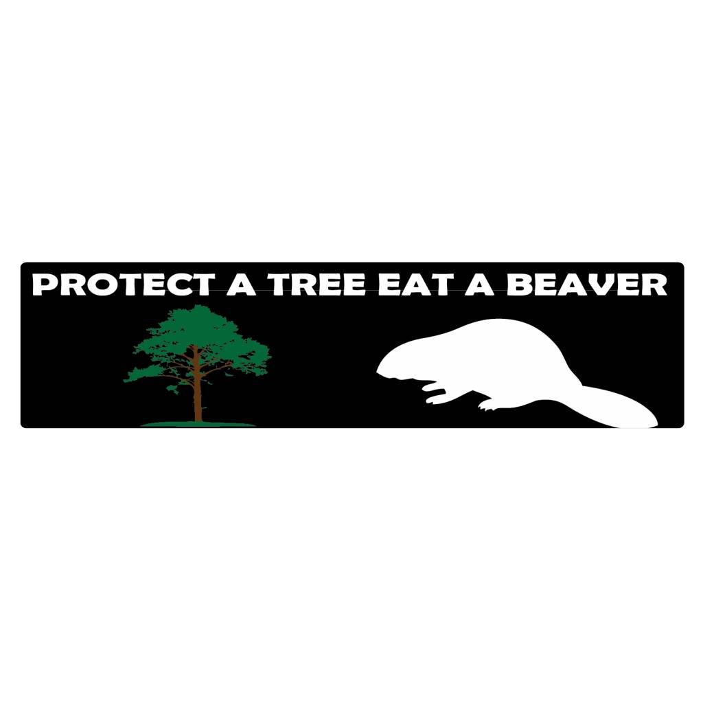 Bumper stickers protect a tree
