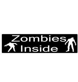 "Pegatina de parachoques ""zombies inside"""