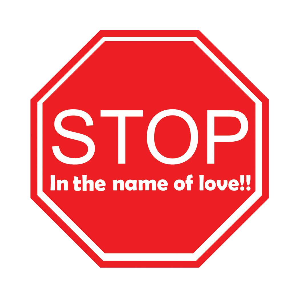 """Autocollant voiture """"Stop in the name of love"""""""