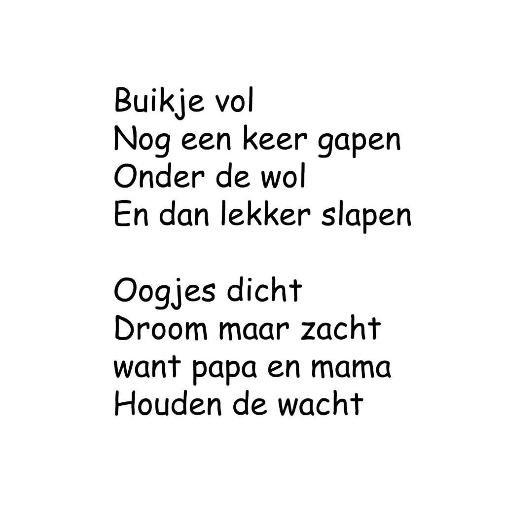 Niederländischer Tekst: ''Buikje vol''