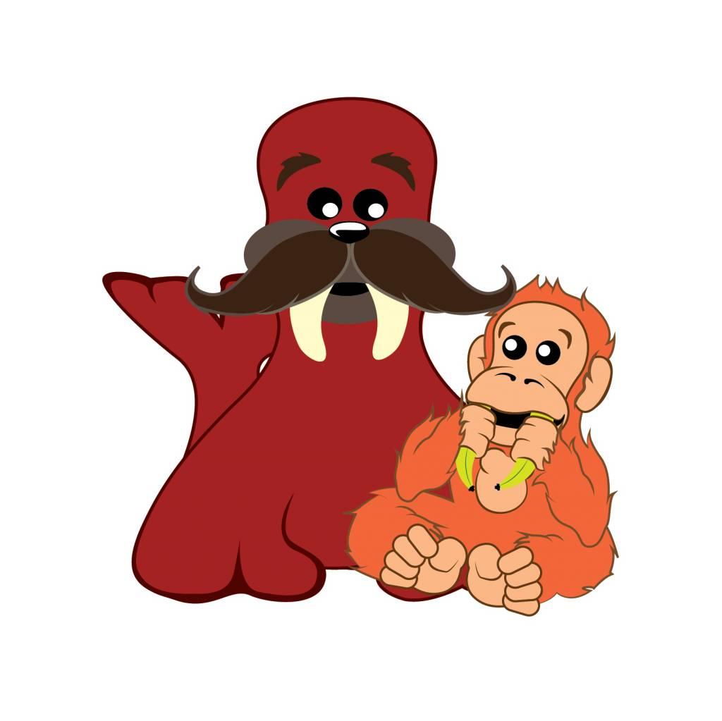 children's room Sticker - Walrus & Monkey