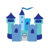Kinderkamer Sticker - Kasteel blauw