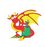 children's room Sticker - Dragon & Tower