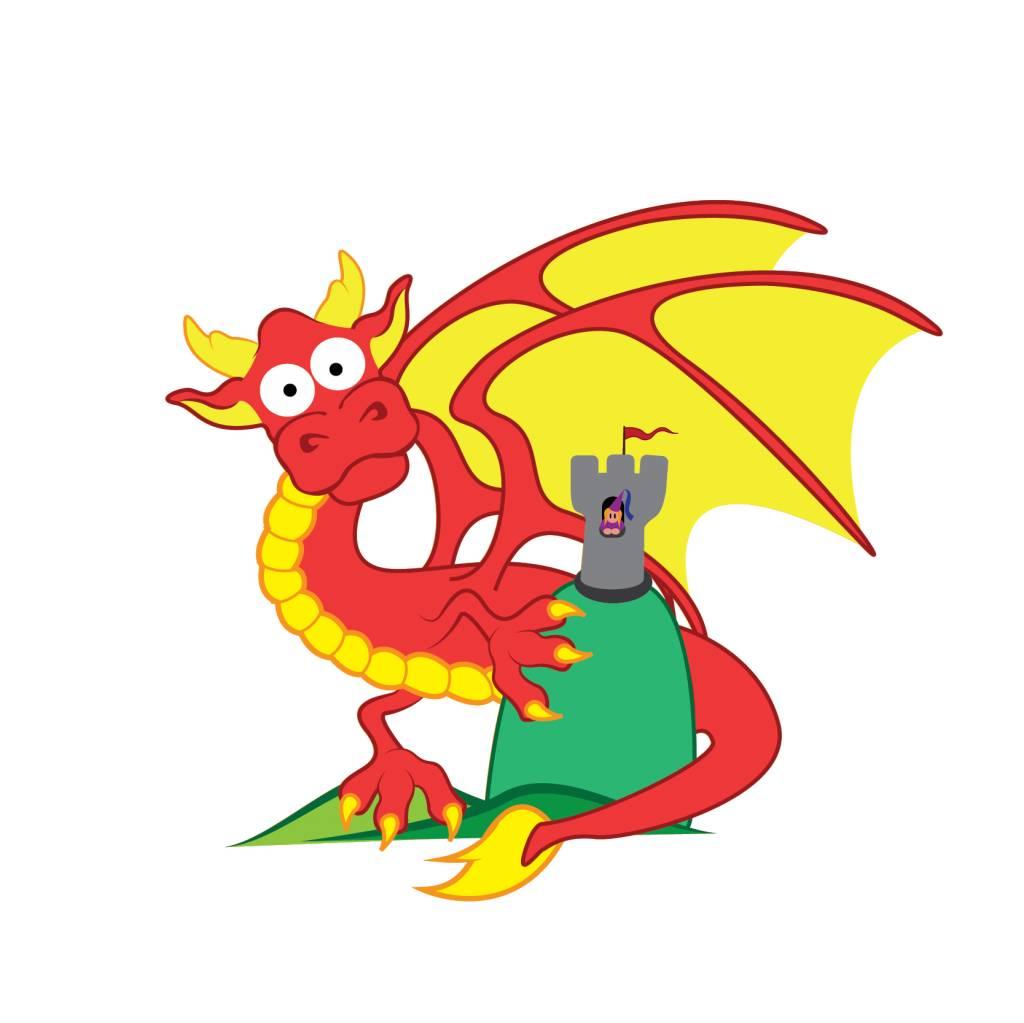 Pegatina habitación infantil - Dragón & Torre
