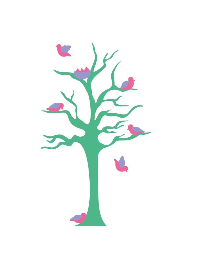 children's room Sticker - Tree & Little birds turkoois