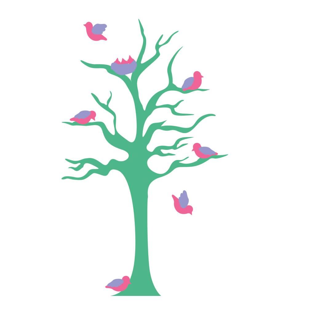 Kinderkamer Sticker - Boom & vogeltjes turkoois