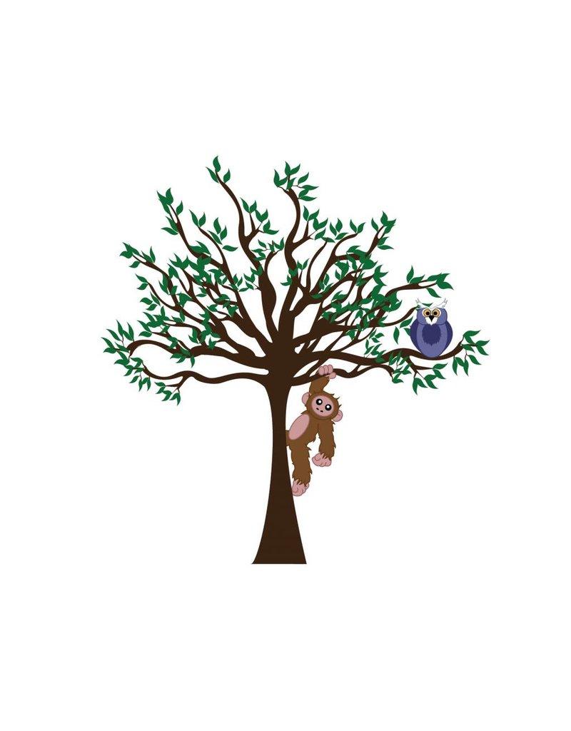Pegatina habitación infantil - Árbol, Lechuza & Mono