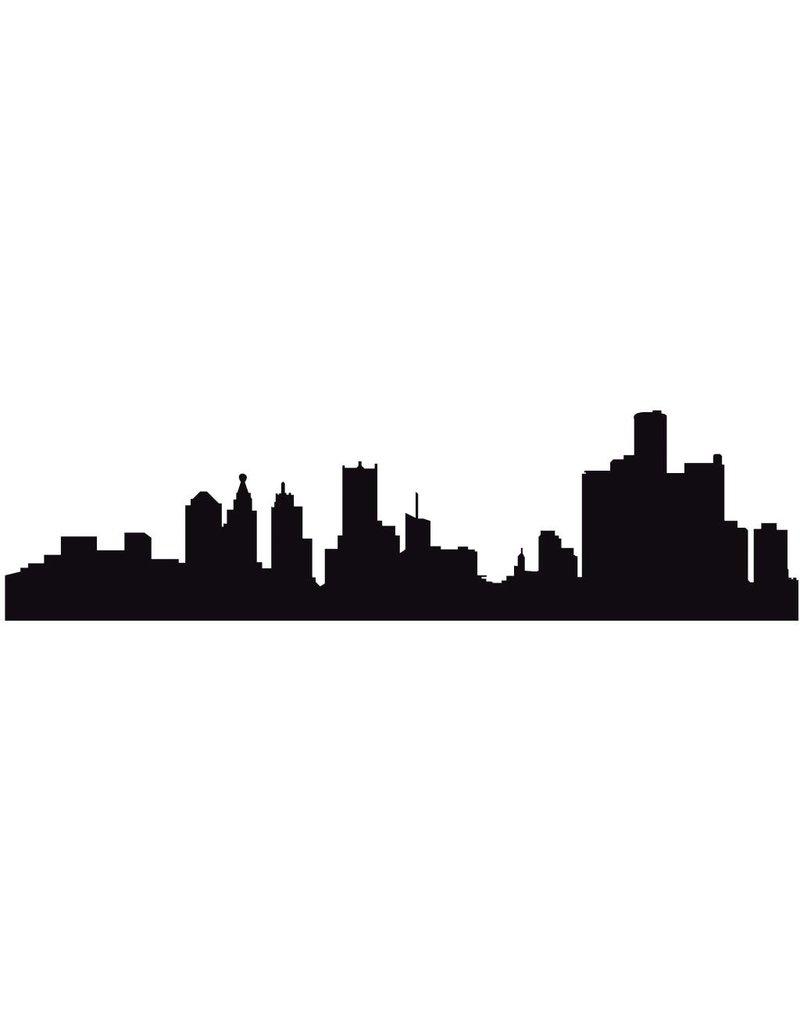 Panorama urbain Detroit autocollant