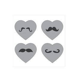 Heart moustache Stickers