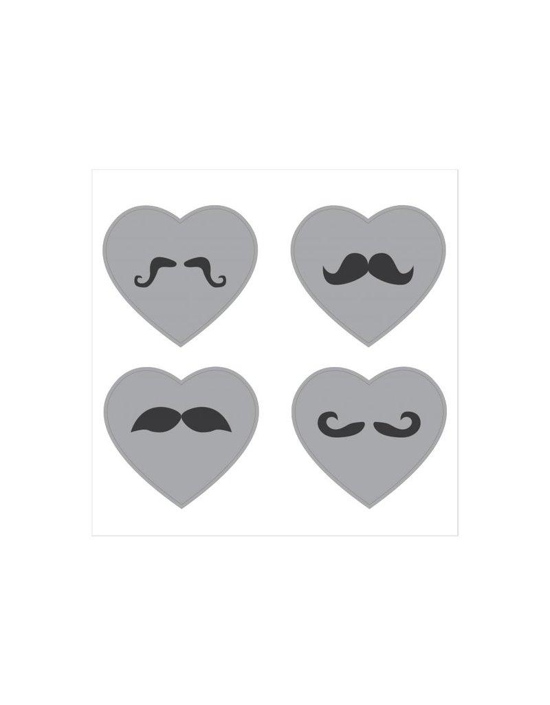Autocollant moustache cœur