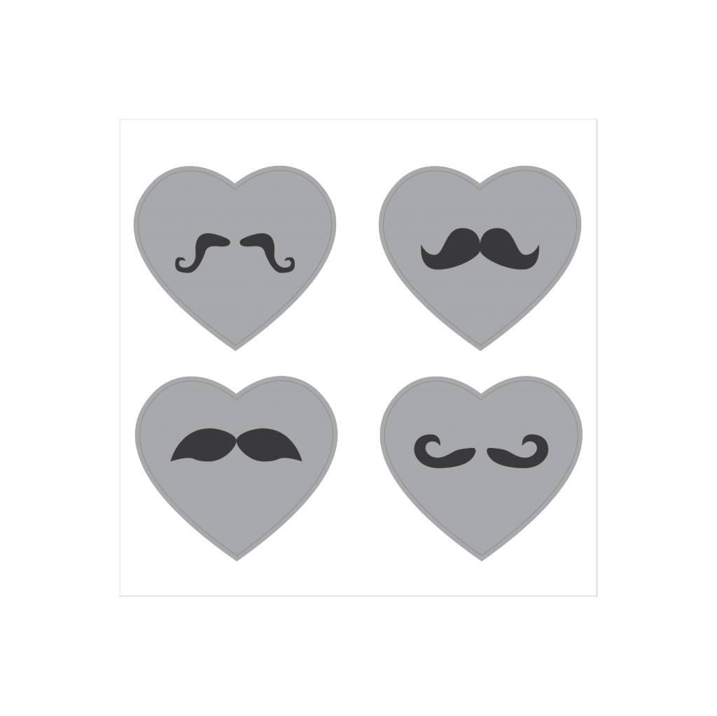 Schnurrbart Herzen Sticker