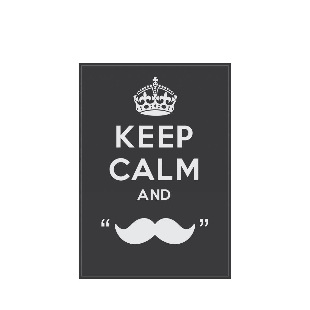 "Pegatina ""keep calm and grow a moustache"""