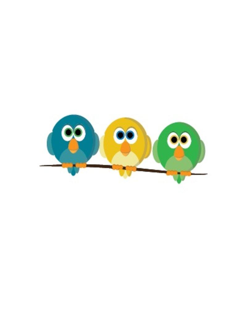 Pegatina pájaros en palo