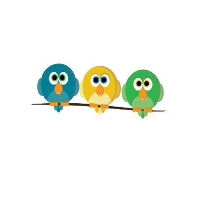 Vogels op stok sticker