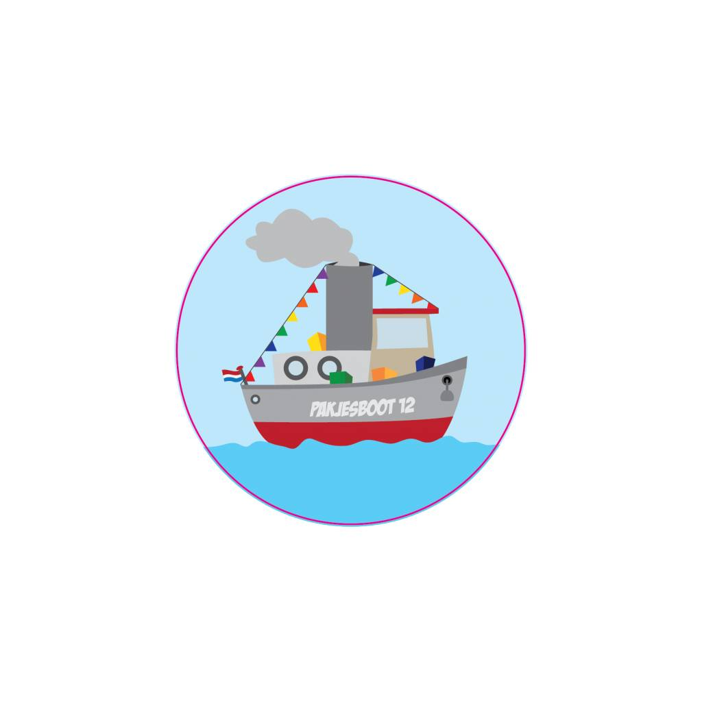 Boat with presents sticker