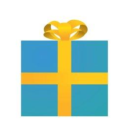 Cadeau bleu autocollant
