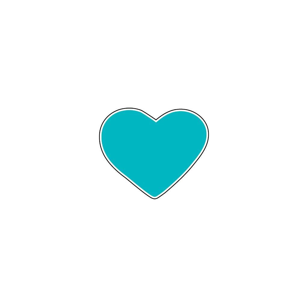 Autocollant Saint-Valentin cœur Turquoise