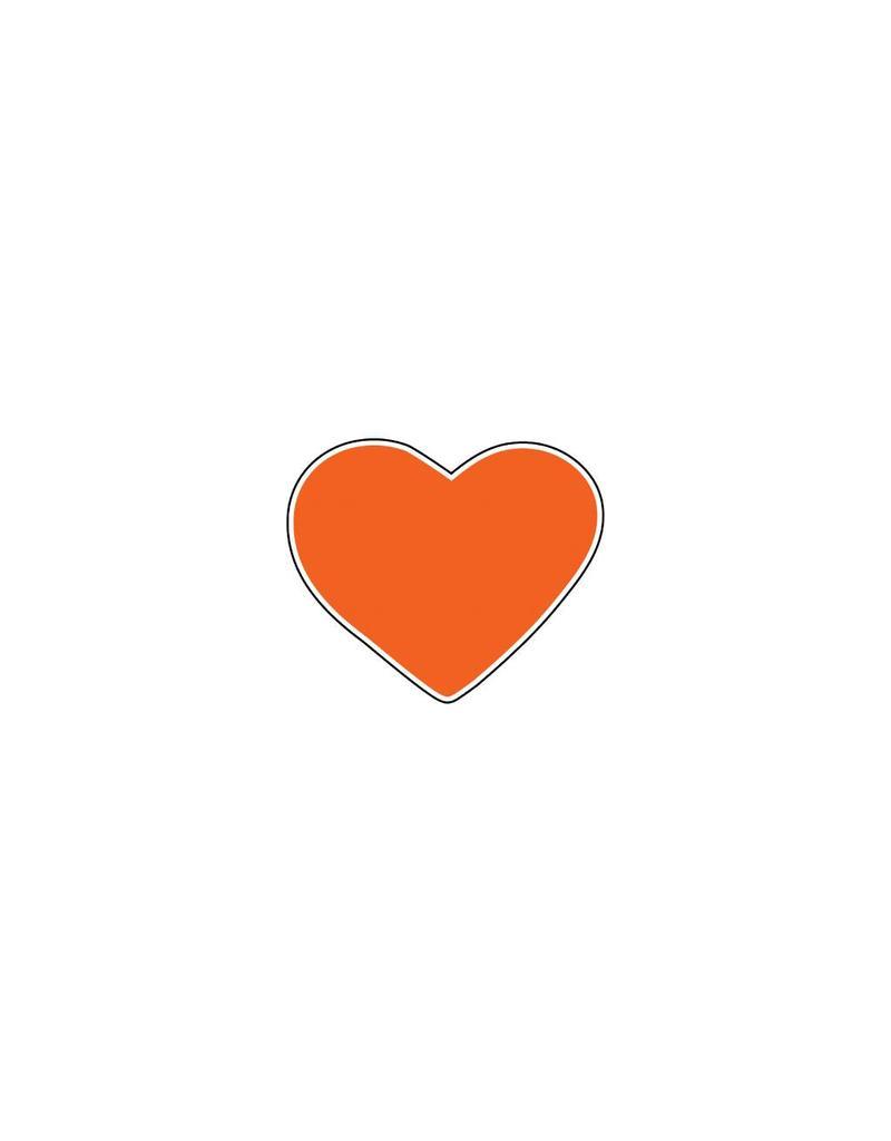 Autocollant Saint-Valentin cœur orange
