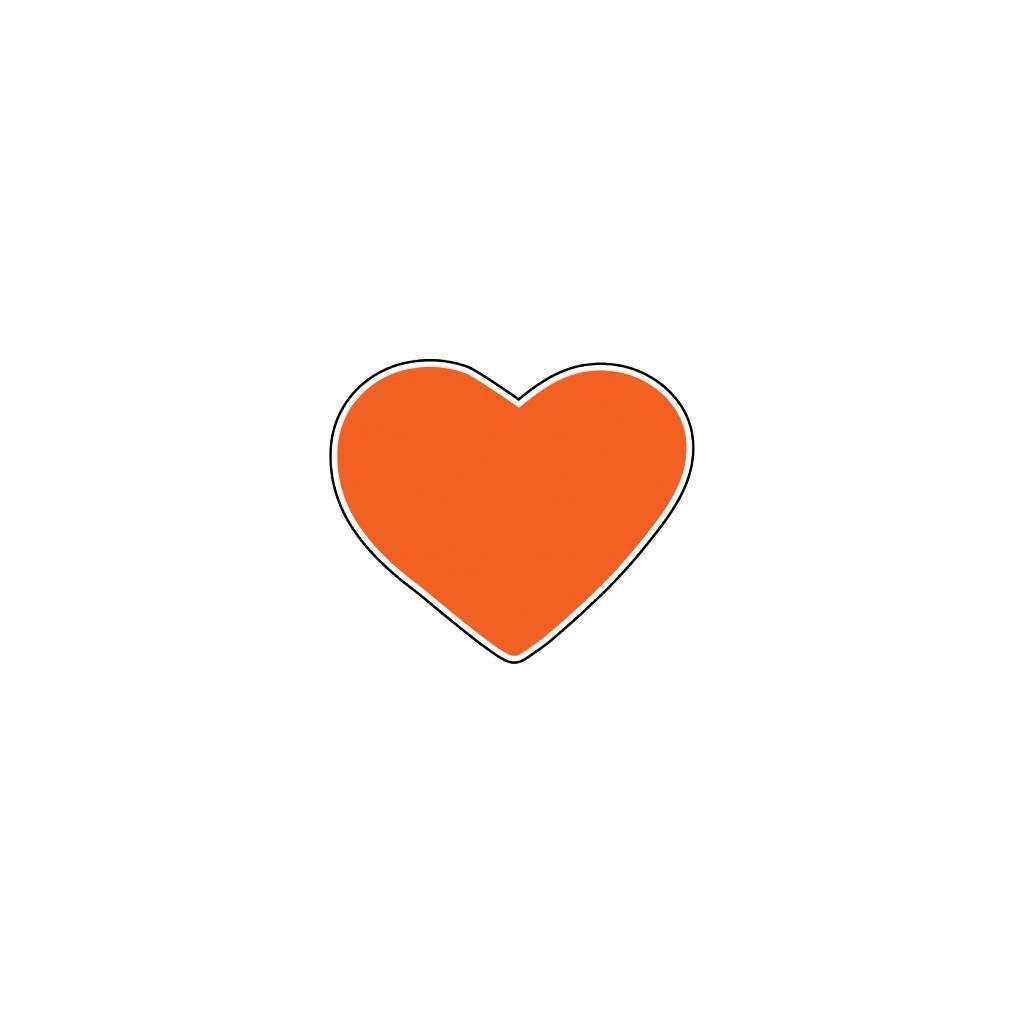 Valentine's day Heart Orange Stickers