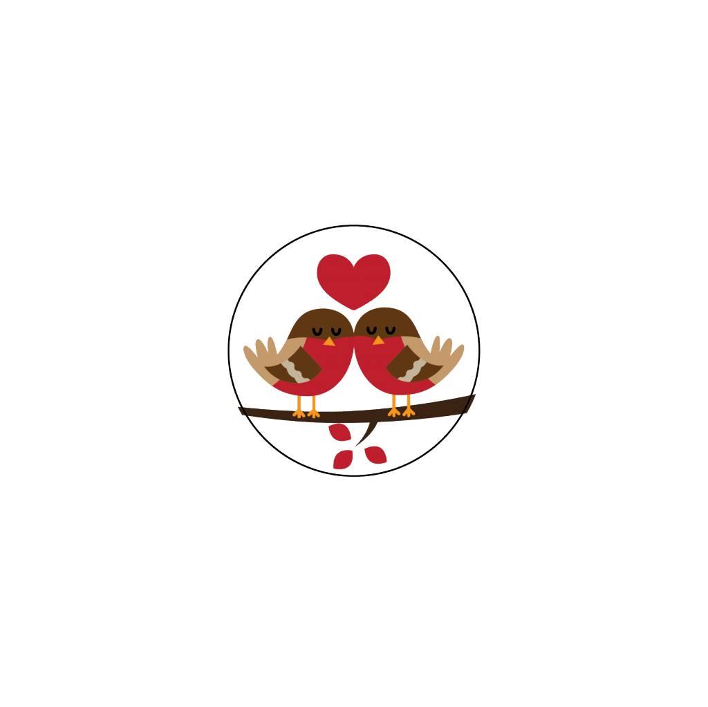 Valentijnsdag Roodborstje 4 Stickers