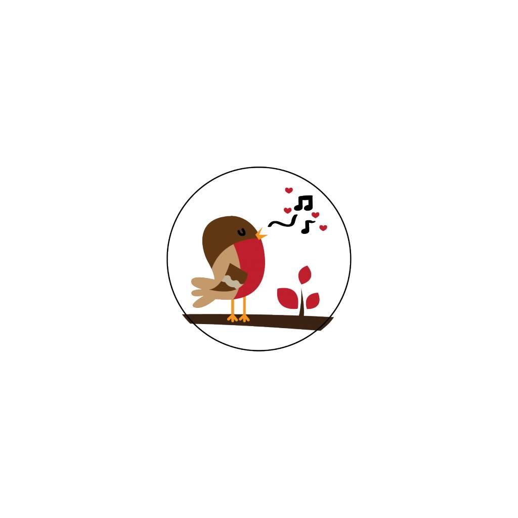 Valentijnsdag Roodborstje 2 Stickers