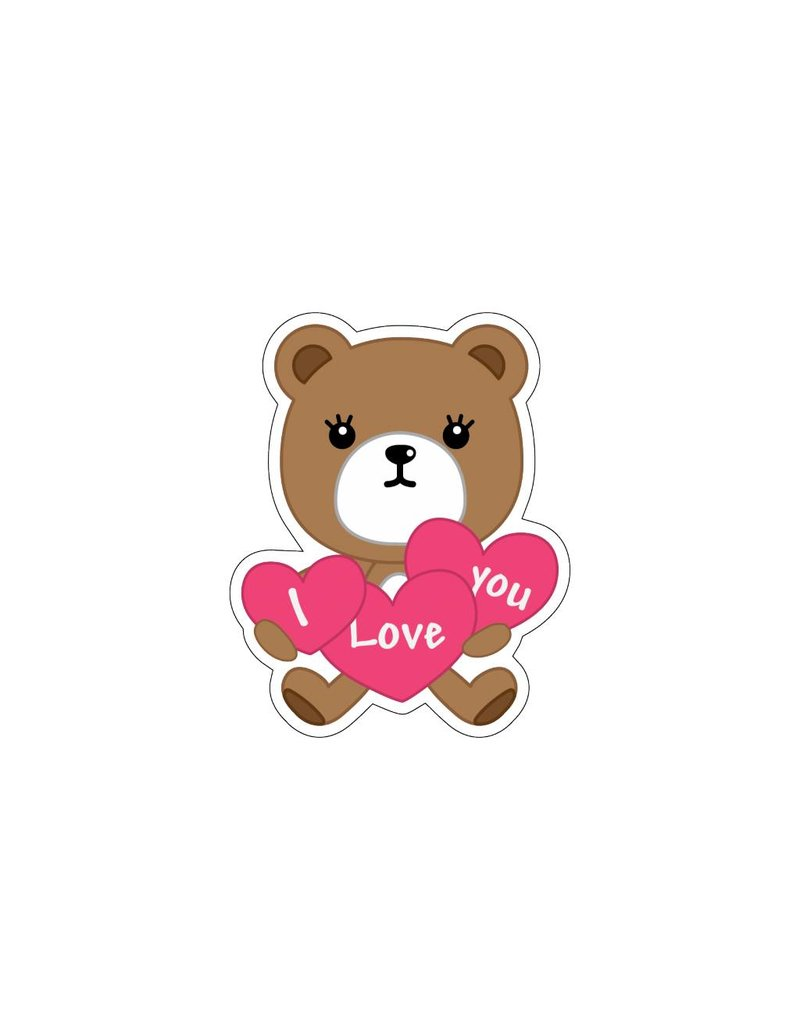 Valentine's day Love Bear 3 Stickers