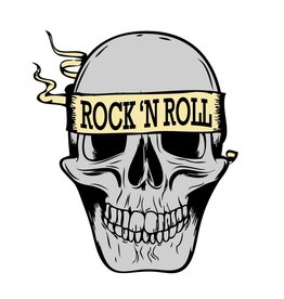 Old-school Rock 'N Roll skull