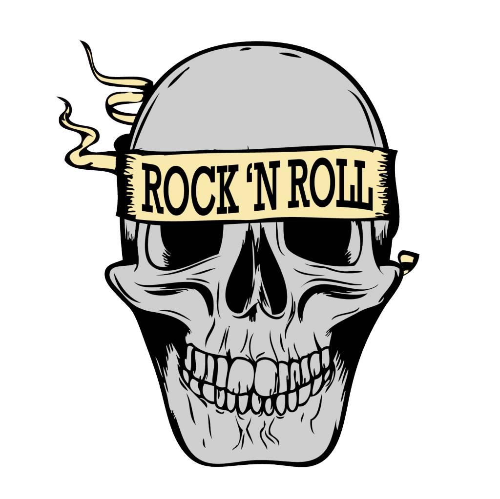 Old School Rock N Roll Skull Dr Sticker