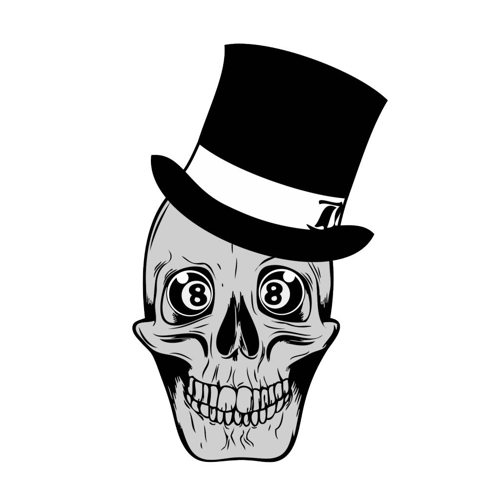 Old-school skull with skew hat and 8 balls