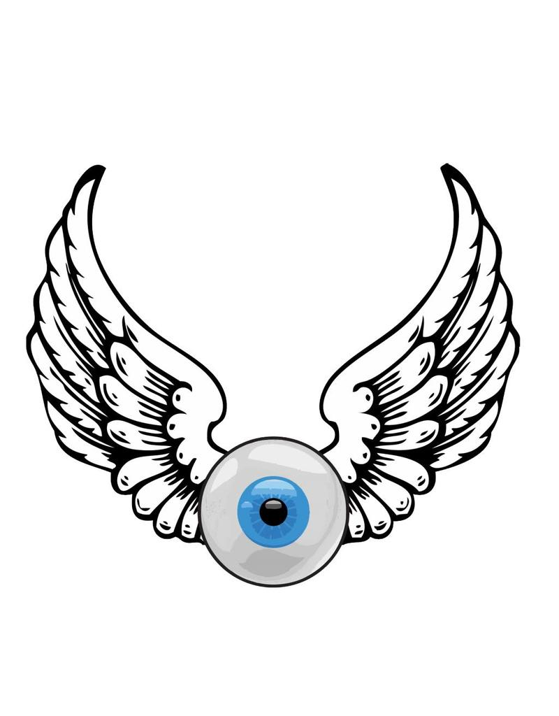 Old-school eyeball with wings