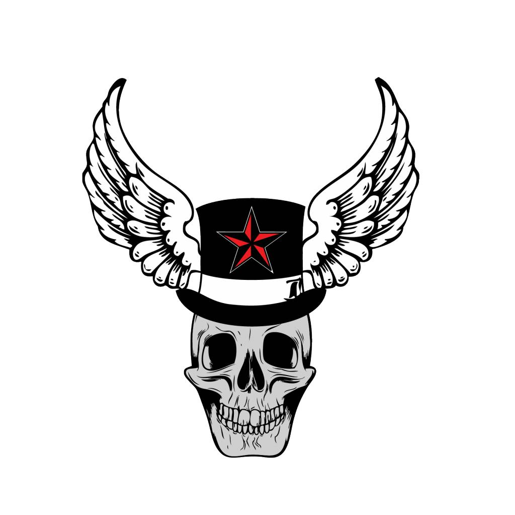 Old-school skull with star hat and wings