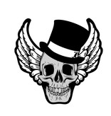 Old-school skull with skew hat and wings