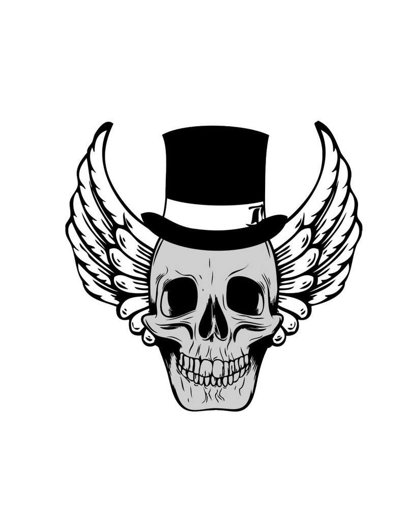 Old-school skull with hat and wings