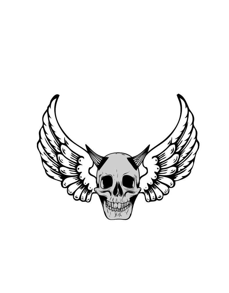 Old-school devil skull with angel wings