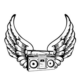 Old-school boombox with wings
