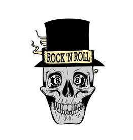 Old-school Rock 'N Roll skull with had & 8balls