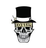 Old-school Rock 'N Roll skull with had